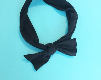 Baby Bow - Knot Bow - Stretchy Knot Bow - Toddler Bow - Jet Black