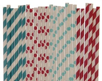 Paper Straw Mix, Red Teal Bright Blue Polka Dot Striped Paper Straws, Childrens Book Party Happy Birthday To You Party Straws, Baby Shower