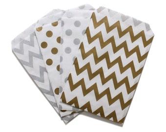 Party Favor Bag, Paper Favor Bags, Silver and Gold Polka Dot Chevron Paper Favor Bags, 1st Birthday Favor, Glam Bridal Shower, Wedding Favor
