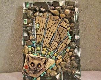 Mosaic wall decor, mixed media, lemur, gift idea