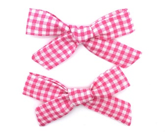 Baby/Girl's Pigtail Bow Set - Pink Gingham