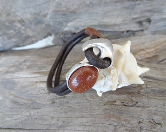 EXPRESS SHIPPING, Brown Leather Bracelet, Cuff Bracelet, Brown Move the Stars  Beaded Hook Bracelet,Gifts for Girlfriend, Mother's Day Gifts