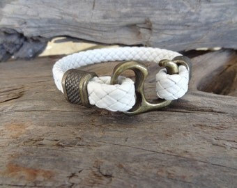 EXPRESS SHIPPING,Men's White Leather Bracelet, Antique Brass Hook Clasp Bracelet, Cuff Bracelet, Gifts for Boyfriend, Father' Day Gifts,