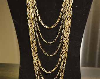Gold Tone Necklace, Multi Strand Necklace, Chain Link Necklace, Long, Trendy, Chic, Urban Jewelry, Statement Necklace, Chains, Unique