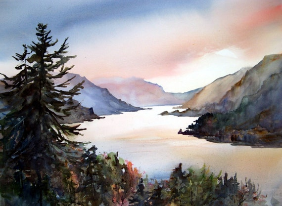 Columbia Gorge 204 - a print of a watercolor painting done by Columbia Gorge watercolor artist Bonnie White
