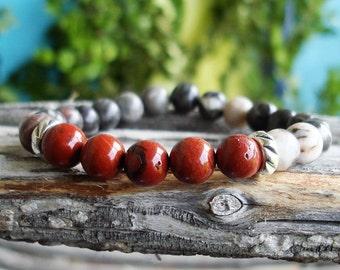 Men's Red Jasper Bracelet, Gemstone Bracelet, Zebra Jasper, Gemstones, Jewelry Gift for Him, Stretch Bracelet, Stacking Bracelet C 49