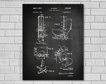 Bathroom Wall Art - Bathroom Decor - Bathroom Patent Print - Bathroom Toilet Poster - Historic Bathroom picture - Bathroom Blueprint HB385