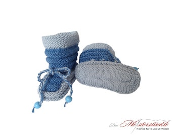 hand knitted baby shoes summer boots blue grey first shoes