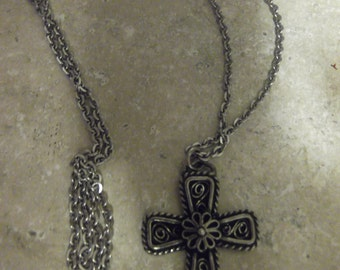 Vintage Havstad Tinn Cross Pendent With Chain
