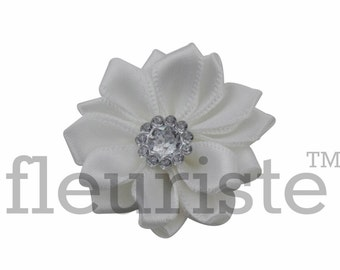 WHITE Ribbon Flower With rhinestone center, Satin flower, Fabric rose, Rolled Rosette, Wholesale Flower, Fabric Flower, Satin Flower, 3pc