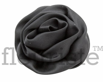 BLACK Satin Rosette, Rolled Rosette, Fabric rose, Rolled Rosette, Wholesale Flower, Fabric Flower, Wedding Flower, Flower Embellishment