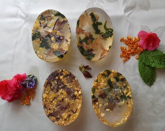Handmade Relaxing Scented Soap with Azalea petals and Mint from My Garden
