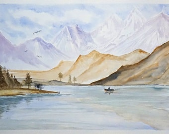 Lanscape with mountains. Original watercolor painting 40 x 30 m