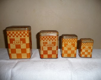 Series of 4 boxes metal kitchen old French Vintage Sanketh orange checkered