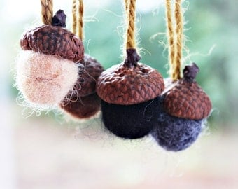 Wool acorn ornaments rustic christmas country christmas, natural rustic decor handmade, christmas gift felted wool gift exhange felted acorn