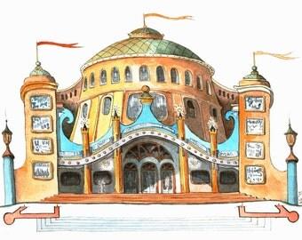 Theater - original watercolor drawing