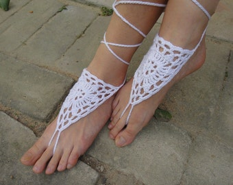 Beach Wedding Bridal Crochet Sandals Beach Anklet Foot Jewelry