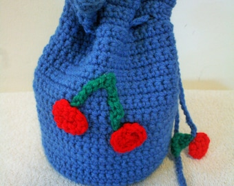 Crocheted Blue Satchel Purse with Cherry Accents