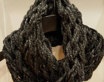 Charcoal Sparkle Arm Knit Infinity Scarf