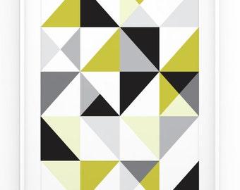 Geometric Print - Triangles - Minimalistic Design - Modern - Wall Art - 3 sizes