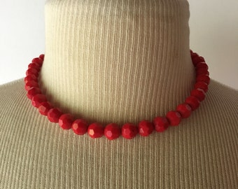 Vintage Beaded Red Necklace