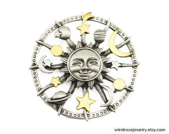 Vintage JJ Sun Brooch, JJ Celestial Brooch, JJ Pewter Sun Brooch, Silver Sun Pin, Silver and Gold Sun Pin
