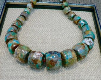 Graduated Natural Turquoise Necklace/Coral Spacers/Copper Clasp/Jeans Necklace/