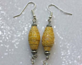 Paper Bead Earrings in Yellow/Red/Green