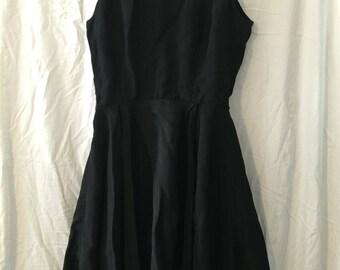 Handmade XS 1950's Silky Black Dress