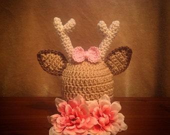 Crochet Deer Hat, Newborn Deer Hat, Baby Girl and Boy Deer Photo Prop, Baby Deer Beanie, Deer Baby Shower Gift