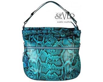 Python Bag, Snakeskin Bag,  Leather Hobo Bag, Designer Purse, Hobo Bag, Handmade Hobo Bag, Blue Leather Bag, Snake Bag, Blue Bag, SV-0009