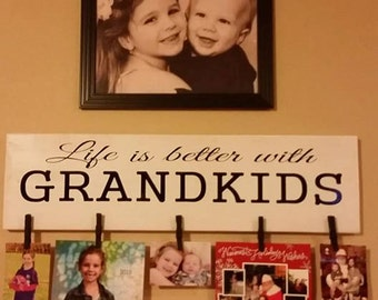 Life is better with Grandkids Wood Sign, Grandparents Sign, Grandkids Pictures, Mother's Day Gift, Grandparents' Gift