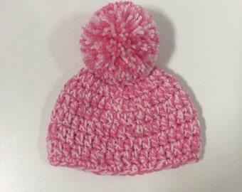 Newborn Baby Crochet Pom Pom Hat