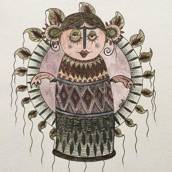 Hoolaleaf Girl Watercolour A4 Print