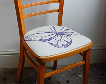 RETRO BUTTERFLY CHAIR Pretty Vintage 1950's Wooden Refurbished with Hand Printed Purple Fabric