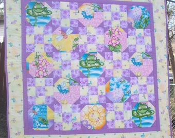 Sunny Frog Baby Quilt - purple and yellow