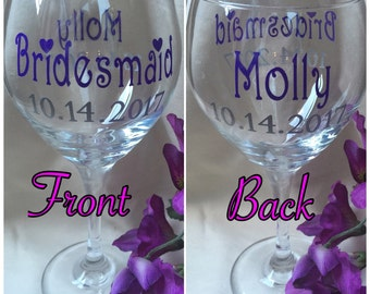 Bridesmaid Gift Ideas,Bridesmaid Wine Glasses,Bridal Party Gift,Wedding Wine Glass,Bridal Shower Favors,Bachelorette Party,Rehearsal Dinner