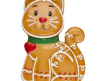 Gingerbread Cat Personalized Christmas Ornament