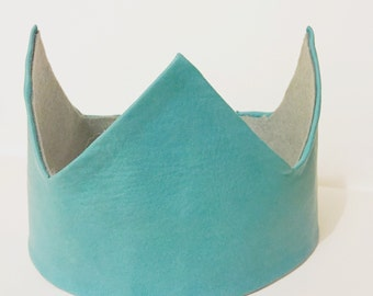 Soft leather crown (turquoise)