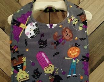 Halloween Monster and Bat Bib
