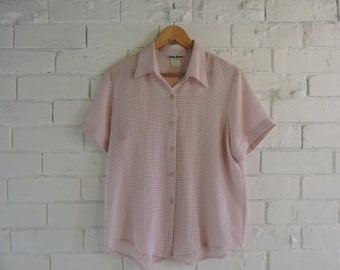 Vintage White and Pink Check Button up Top