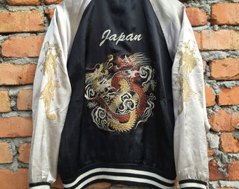 Vintage Japanese Traditional SUKAJAN Dragon fight yakuza jacket