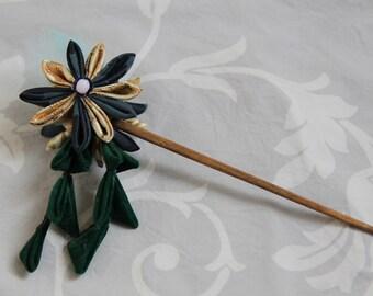 Hairpin, tsumami kanzashi, hair accessory, fabric flower, Japan, asian style, fantasy