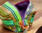 Hand-Made Organic Cotton Boxy Pouch Guatemalan Textile with Macaco