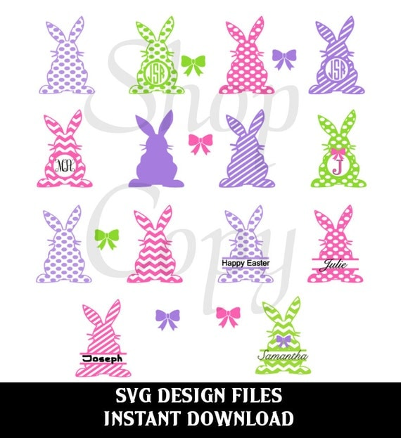items similar to svg cutting files bunny monogram shapes svg