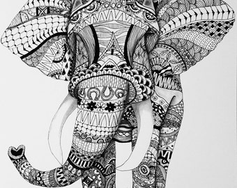 Zentangle Elephant Print