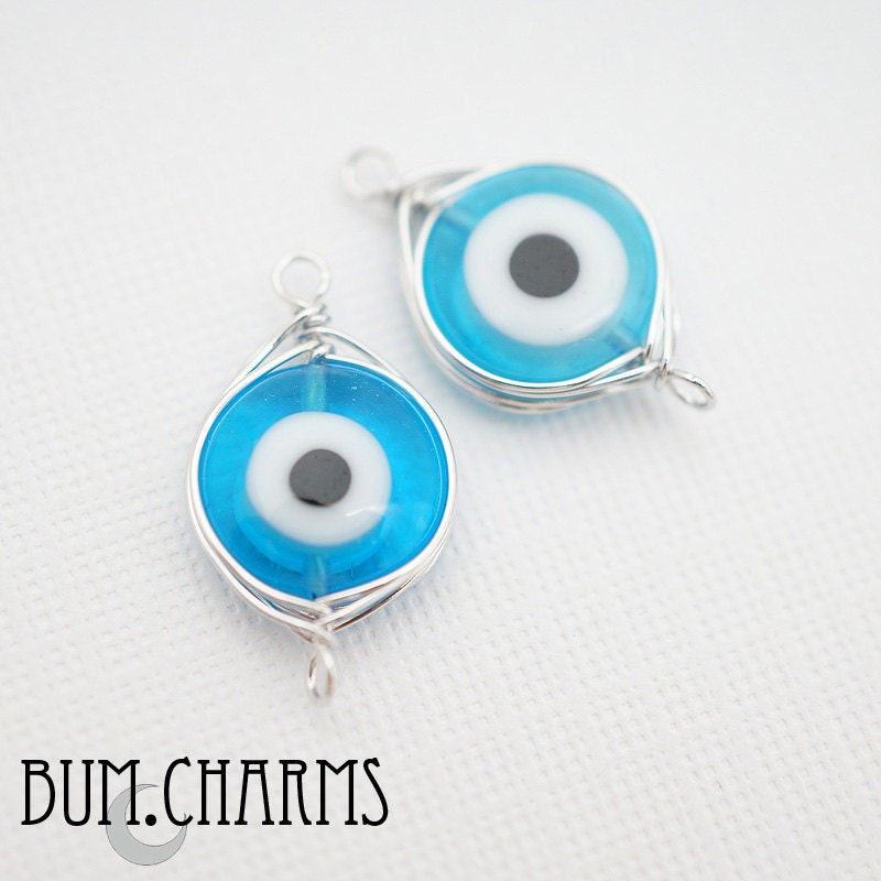 f0037 pre wired glossy original rhodium plated evil eye wire wrapped aqua blue