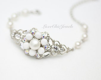 Bridal Bracelet, Swarovski Crystal and Pearl Bracelet, Wedding Jewellery - Charlotte