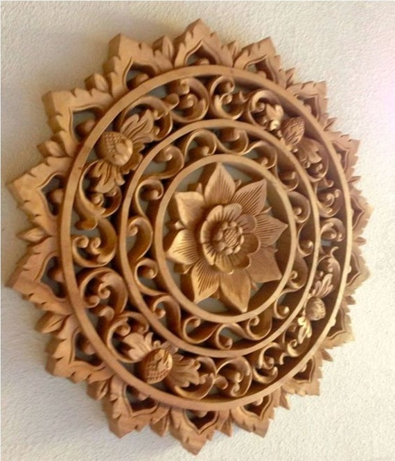 Items similar to a hand carved wooden mandala carving