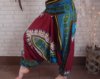Harems,burgundy,brown,black.green,orange,blue,harems trousers,festival clothes,hippie paints,African print trousers,
